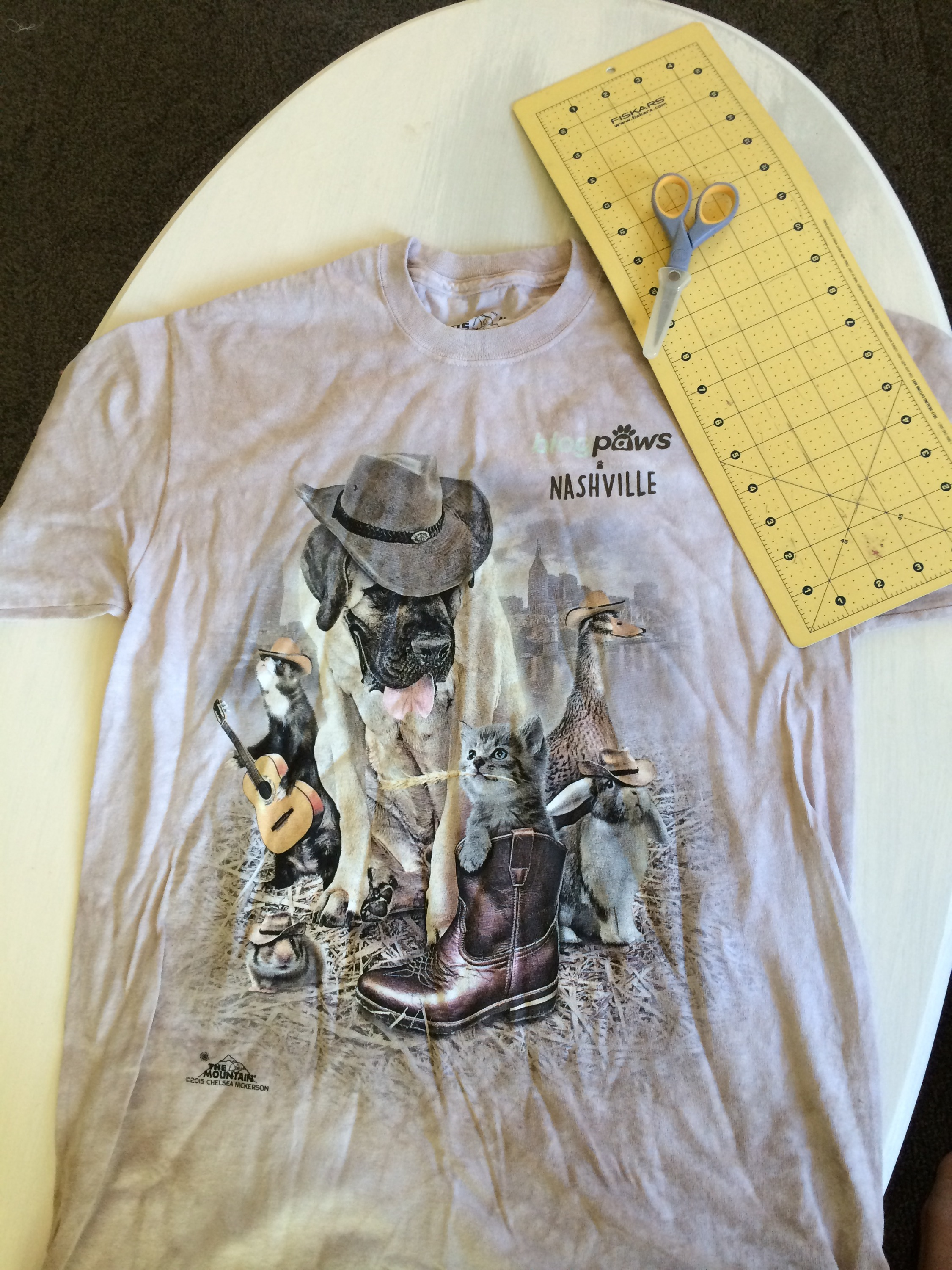 You will need a big boxy t-shirt, scissors, and a cutting mat or book to use as a guide.